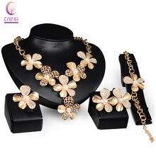 cda58798f249 Bien Africana traje conjuntos de joyas de oro de cristal de Color perla  simulada Boda nupcial