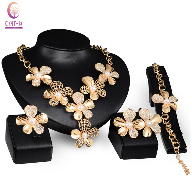 Fine African Costume Jewelry Sets  Gold Plated Crystal simulated pearl Wedding Women Bridal Accessories nigerian Necklace Set