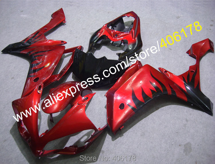 Hot Sales,For YAMAHA 2007 2008 YZF-R1 07 08 YZFR1 YZF R1 YZFR1000 Black Flame in Red custom abs Fairings (Injection molding) hot sales for yamaha yzf r1 2007 2008 accessories yzf r1 07 08 yzf1000 black aftermarket sportbike fairing injection molding