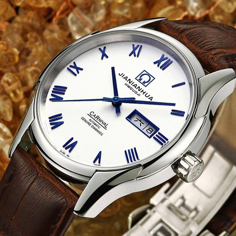 Karnawał luksusowej marki mężczyźni biznes automatyczne zegarki mechaniczne prawdziwej skóry wodoodporny zegarek świetlna mężczyzna zegar reloj hombre w Zegarki mechaniczne od Zegarki na  Grupa 1