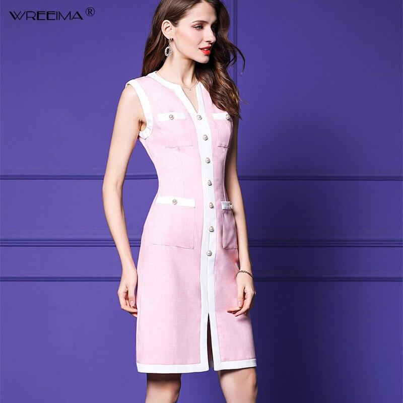 Couronnes femmes Patchwork Vintage robes d'été bref Style robe de soirée sans manches pour travail femme robes élégantes robes 2019