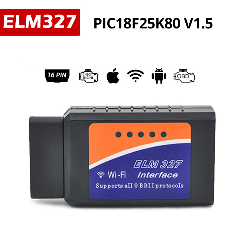 pic18f25k80 ELM327 V1.5 Scanner OBDII Diagnostic Tool OBD2 ELM327 Bluetooth WiFi Diesel Auto Code Reader Work Android/IOS/Window