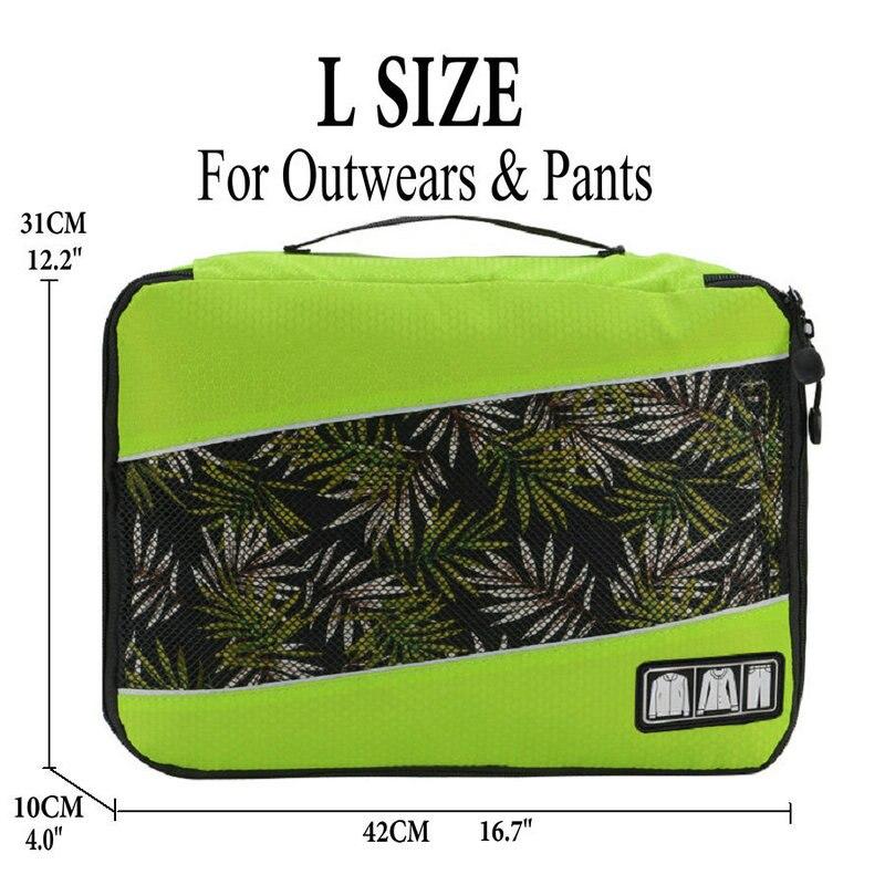 Soperwillton упаковочные кубики, нейлоновая дорожная сумка-Органайзер, Воздухопроницаемая сетчатая дорожная сумка для мужчин и женщин, органайзер для путешествий - Цвет: Green L