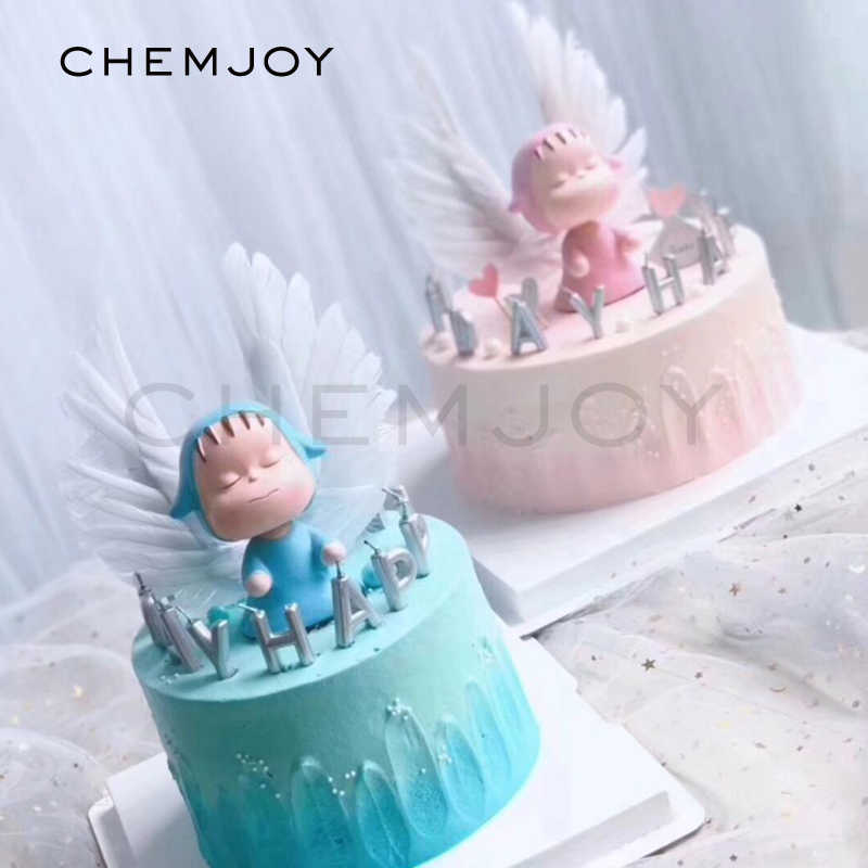 Baby Shower Cake Toppers Cute Doll Angel Wings Birthday Decor Gender Reveal Party Girl