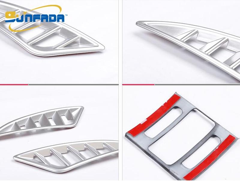 Sunfada Chrome/углерода Волокно вентиляционное отверстие розетки подкладке Рамки Обложка отделка украшения для Mazda 6 Atenza 2013- стайлинга автомобилей - Цвет: Chrome