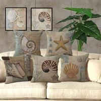 Mediterranean Series Conch Starfish One Side Printing Home Decor Sofa Seat Decorative Cushion Cover Pillow Case Capa Almofada