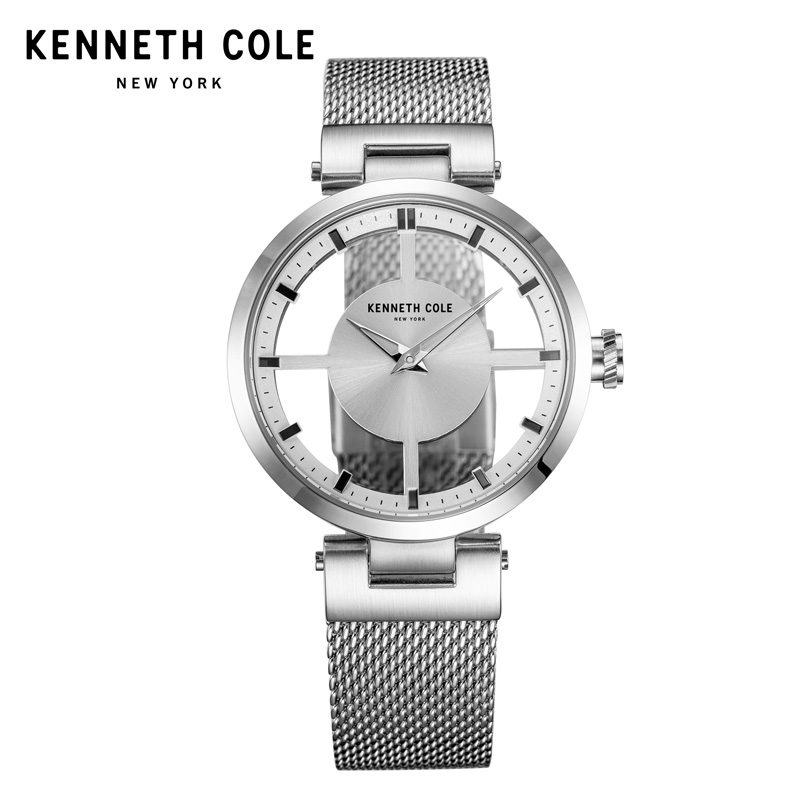 Kenneth Cole Womens Watches Silver See-through Stainless Steel Bracelet Quartz Simple 2018 Luxury Brand Watches KC10031462 цена и фото