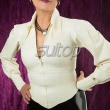 Женские резиновые блузка белого цвета латекс пальто для женщины(China (Mainland))