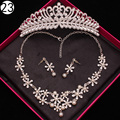 Rhinestone Crystal necklace and earrings crown Luxury Bridal jewelry sets for Women african beads wedding  jewelry set