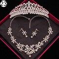 Strass colar de Cristal e brincos coroa de Luxo conjuntos De jóias de Noiva para As Mulheres africano contas de casamento conjunto de jóias