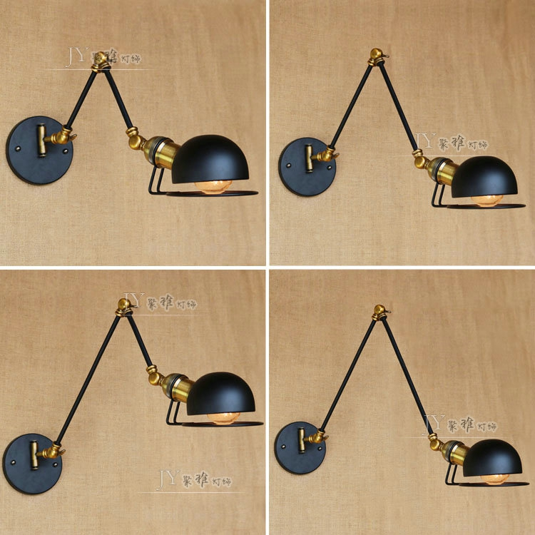 Vintage Loft Industrial Adjustable Sconce Wall Lights for Bedroom Long Swing Arm Flexible Wall Lamp Black Lighting Fixtures E27