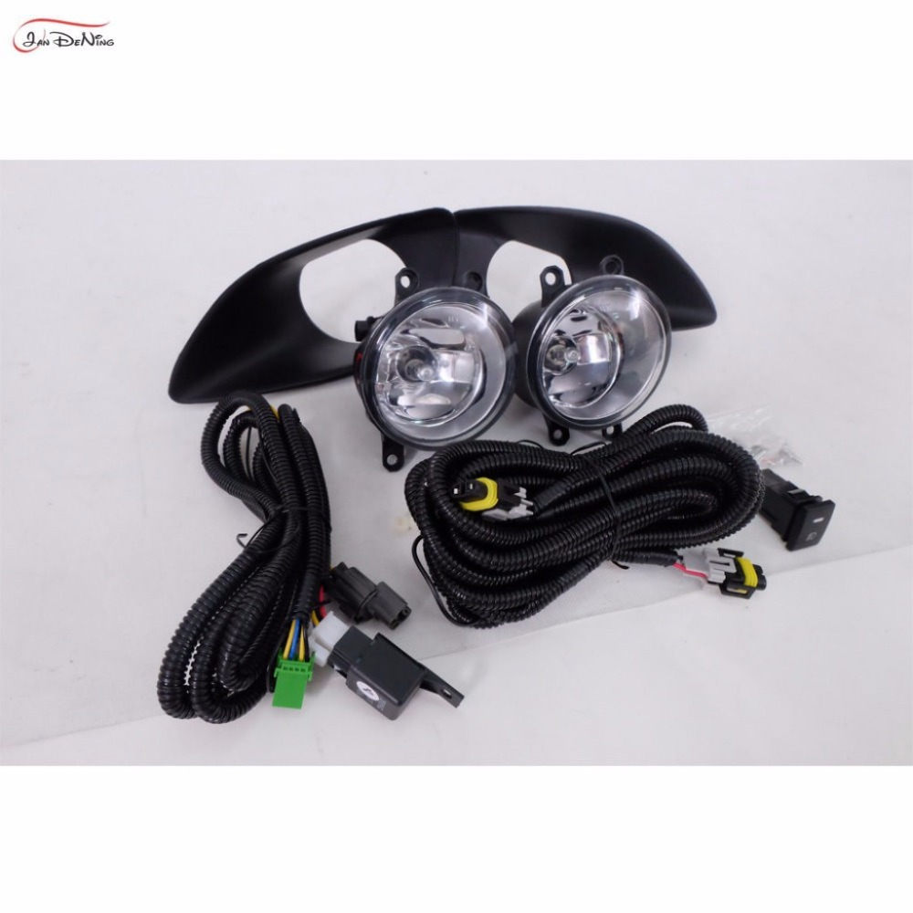 JanDeNing For Toyota Yaris Sedan Belta 2006-2012 /Vios 2007-2012 Front Fog Lamp Cover Trim Replace assembly kit black (one Pair) fog lights lamp for toyota yaris senda 2006 belta vios 2007 clear lens pair set wiring kit fog light set