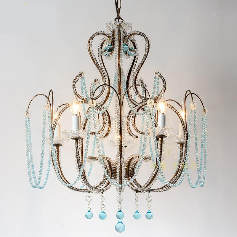 Modern Chandeliers Iron Art Blue Crystal Art Dining Room Living Room Light Simple Creative Retro Cafe Chandelier Lighting modern crystal chandelier led hanging lighting european style glass chandeliers light for living dining room restaurant decor