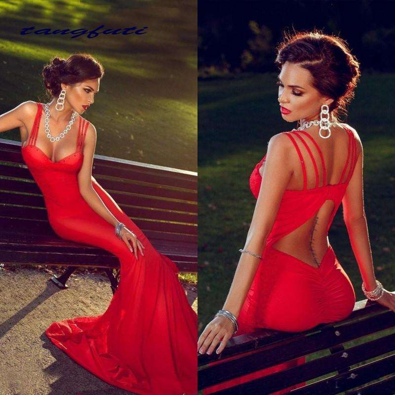 Sexy Mermaid   Prom     Dresses   Red Spaghetti Straps Backless Long Formal Evening Party Gown Sweep Train   Prom     Dress