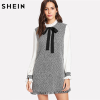 SHEIN Elegant Ladies Dresses Multicolor Long Sleeve Tie Neck Tunic Dress Contrast Pleated Sleeve Frayed Hem