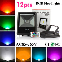 12X Led Flood Light RGB 10W 20W 30W 50W Led Floodlights Waterproof Led Outdoor Lights Color Changing AC 85 265V + Remote Control|Floodlights| |  -