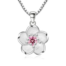 ФОТО 100% 925 sterling silver fashion cherry blossoms flower ladies`pendant necklaces female short box chain jewelry drop ship cheap