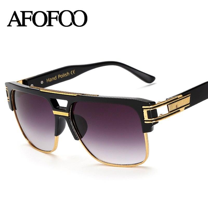 AFOFOO Oversize Sunglasses Praça Top Quality Marca de Luxo Designer de Moda  Dos Homens Do Vintage Óculos de Sol UV400 Óculos De Sol Mulheres Tons 353ce1747c