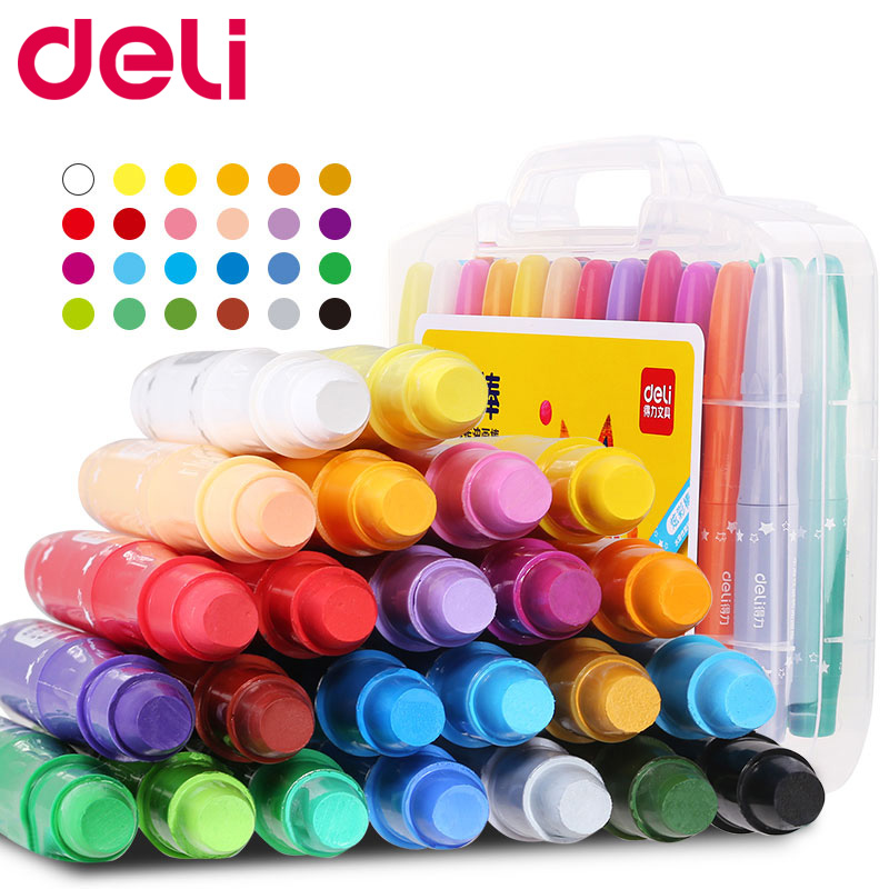 Deli non-toxic 12/24/36 color water soluble oil pastel wax crayon set for school painting art supplies cute drawing pen kid gift deli oil pastel non toxic washable 24 36 paint sticks solid tempera paint pen color crayons cute stationery office school