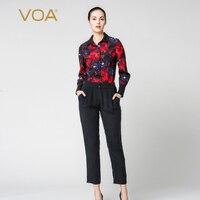 VOA Autumn Red Print Jumpsuits For Women Black Long Sleeve Turn Down Regular Bodysuit Luxury Ladies