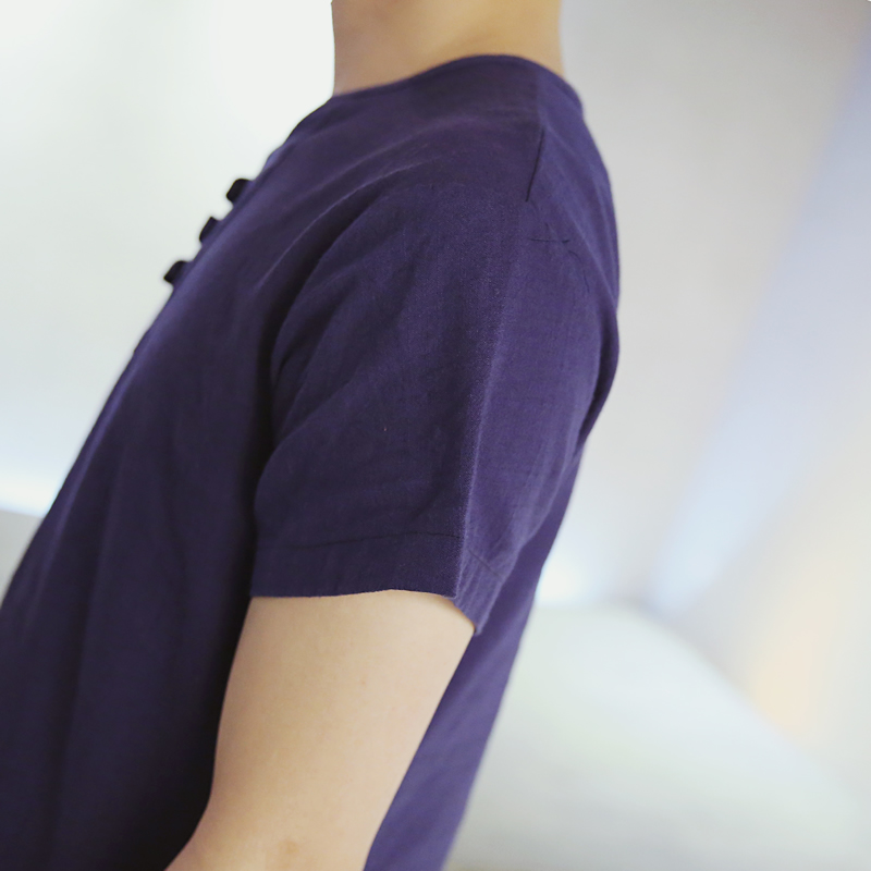 Herre T-shirt Kortærmet Japansk Linned Bomuldstrøje til mænd Blød - Herretøj - Foto 5