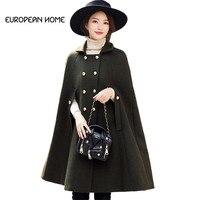 New Autumn Winter Woolen Cloak Jacket Women Clothing High Quality Elegant Plus Size Fashion Cashmere Long Cape Poncho Coat Women
