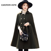 New Autumn Winter Woolen Cloak Jacket Women Clothing High Quality Elegant Plus Size Fashion Cashmere Long Cape Poncho Coat Women
