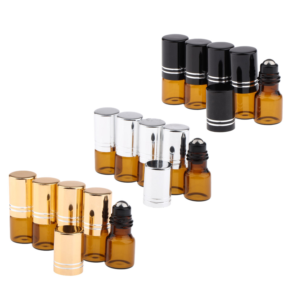 5Pcs 2ML Empty Glass Essential Oil Perfume Roller Ball Bottles Cases Holders