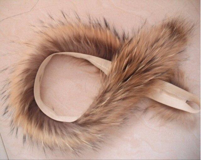 2016 Real Fur Collar 100% Genuine Raccoon Fur Scarf  70cm Fur Trim of Down Coat Fur Strip/Hooded