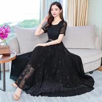 Women Chiffon Long Dress 2019 New Summer White Black Casual OL Dresses Ladies Plus size S 3XL Solid Elegant Party Maxi Vestidos