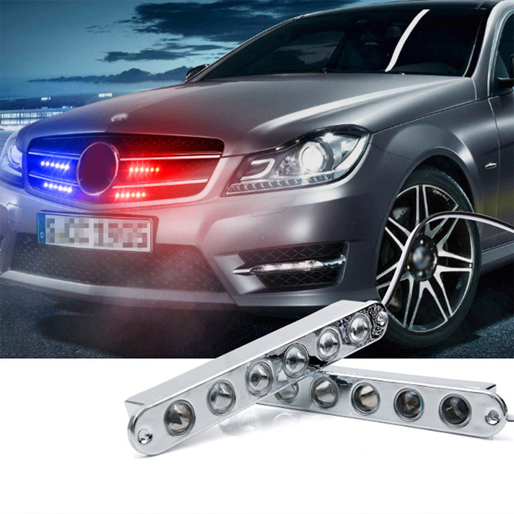 2Pc 6LED Car SUV Emergency Warning Beacon Flash Strobe Light Bar Grille Blue+Red ...