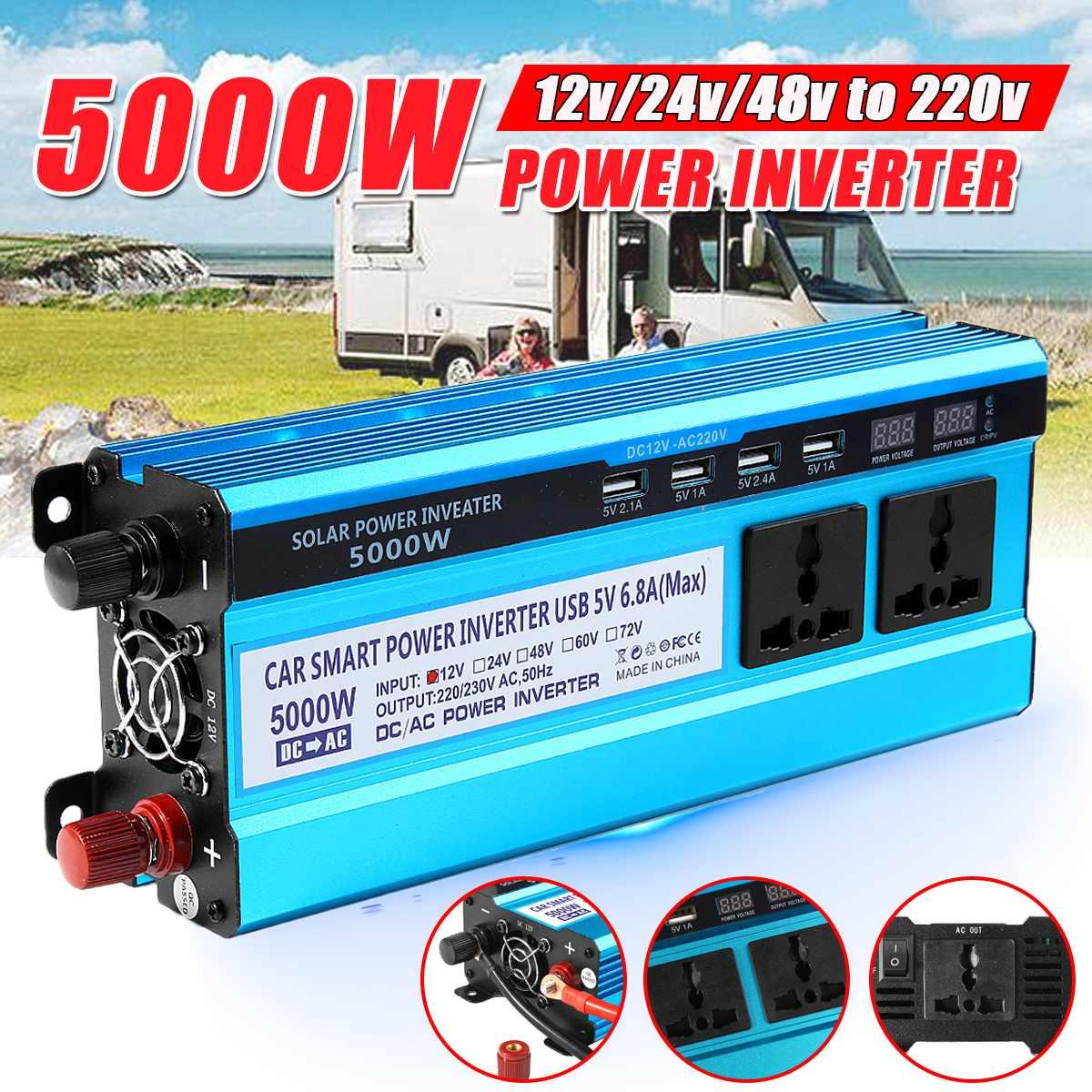 Falownik solarny DC 12V 24V 48V do AC 220V 3000W 4000W 5000W przetwornica napięcia konwerter transformatora 4 USB LED wyświetlacz do samochodu strona główna