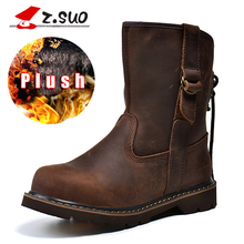2017 Handmade Brown Retro PLush Women's Winter Boots Genuine Leather Ladies Shoes Female Motorcycle Boots With Fur 35-42 #992NM
