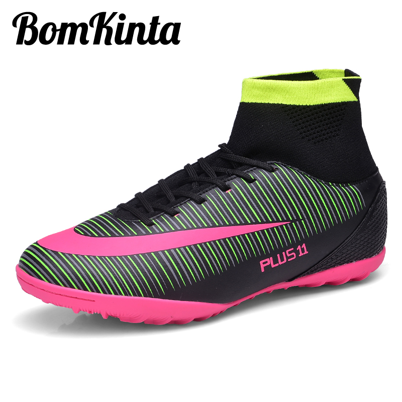 62357ffb49f BomKinta 2018 New Men s Soccer Shoes High Top Football Boot Professional  Trainers TF Futsal Boot Original Sock Blue Zapatillas-in Soccer Shoes from  Sports ...