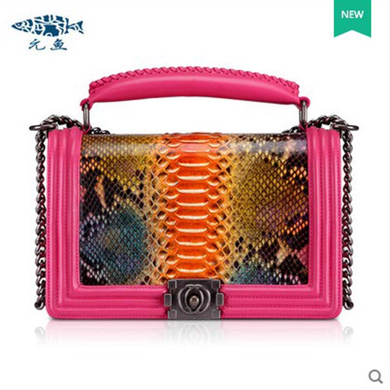 yuanyu 2018 new snake skin snake leather women bag  single shoulder bag small flap women bags yuanyu real snake skin women bag new decorative pattern women chain bag fashion inclined single shoulder women bag