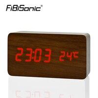 FiBiSonic Antiken stil Schwarz weiß Nacht Leuchtende holz uhr Kurze Kunst Uhr Temp + datum + zeit reloj despertador für office home