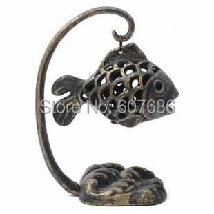 Vintage Iron Metal Garden Lantern Fish Form Japanese Lamp Table Lantern Home Decor Tables Decorations Candle