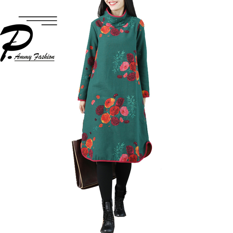 2018 Winter Dress Fleece Lining Thicken Warm Floral A-Line Dress Ladies Long Sleeve Loose Tunic Turtleneck Knee-Length Pullover