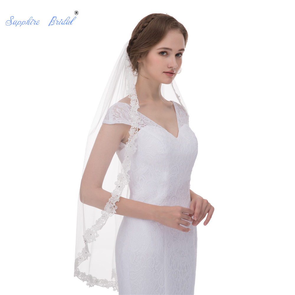 Sapphire Bridal High End Luxurious Lace Edge Fingertip Wedding Veil Lace Wedding Accessories Short Bridal Veil With Applique New
