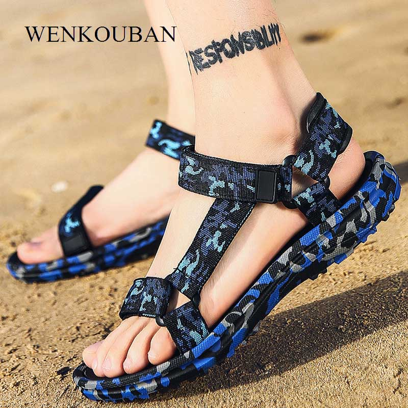 WENKOUBAN Summer Men Sandals Gladiator Beach Shoes Male