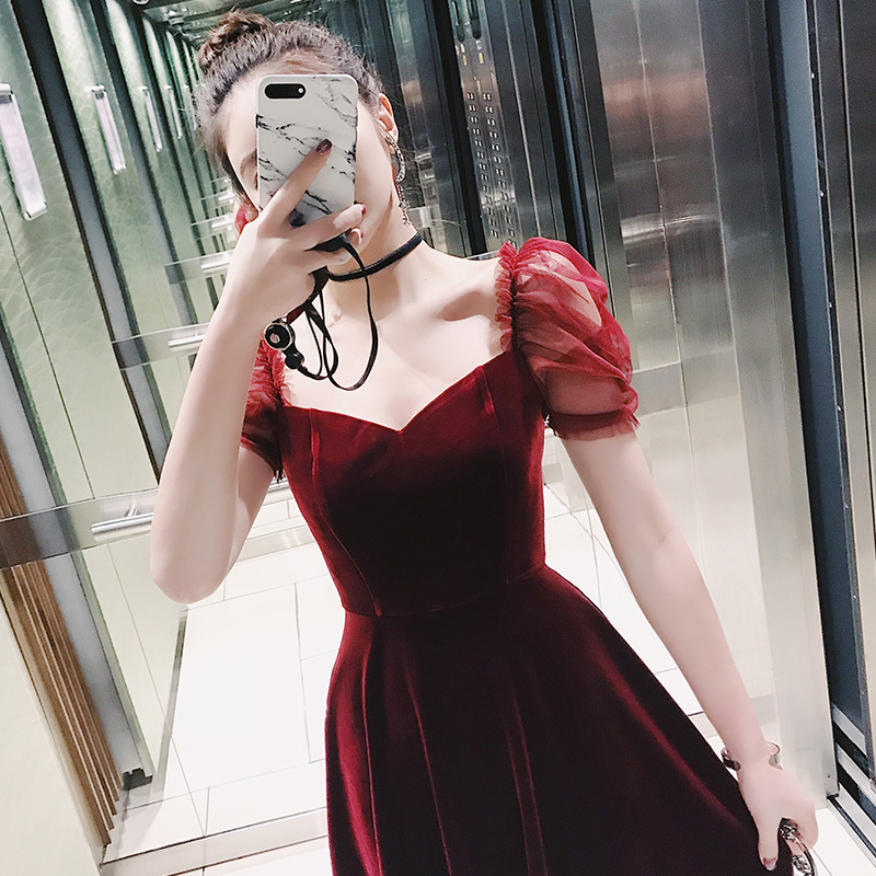 2018 red velvet dress female spring waist flounce princess sleeve and ladies ride dress A word