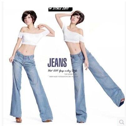 Lolen тонкий срез дышащие и удобные случайные широкую ногу джинсы женские свободные большие ярдов брюки