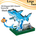 3D Origami DIY Electric Seaworld The Shark,Electric Circuit Paper Science for Kids,DIY Puzzle Paper Science Model kit baby Toys