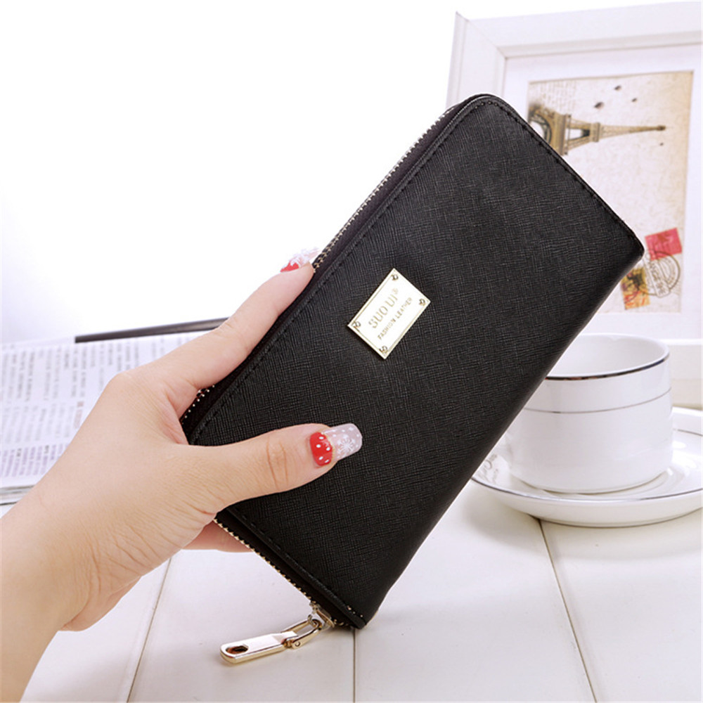 Candy Color PU Leather Wallet Metal Sheets Decorate Long Wallet PU Long Purse