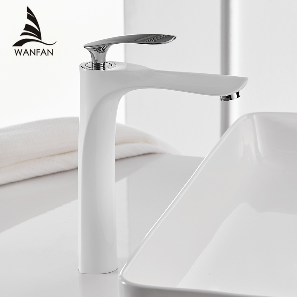 Cuenca grifos Color blanco lavabo grifo del baño caliente y fría del grifo cromado latón lavabo WC agua grúa oro 228