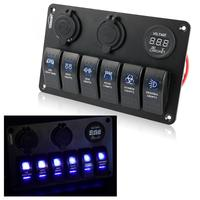 6 Gang LED Car Boat Rocker Switch Panel 2 USB Socket Cigaretter Plug Voltmeter Car Auto