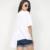 [Twotwinstyle] 2017 verão projeto original coreano pregas assimétricas costura curto-de mangas compridas t-shirt das mulheres novas