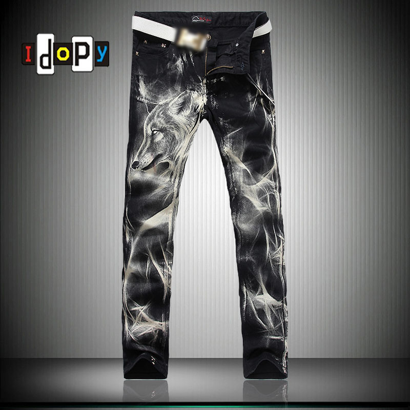 Fashion Big Size Mens Printed Jeans 28 38 Black Stretch Slim Fit Painted Wolf Print Night Club Singers Trousers
