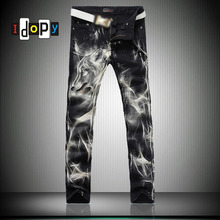 Fashion Big Size Mens Printed Jeans 28 38 Black Stretch Slim Fit Painted Wolf Print Night