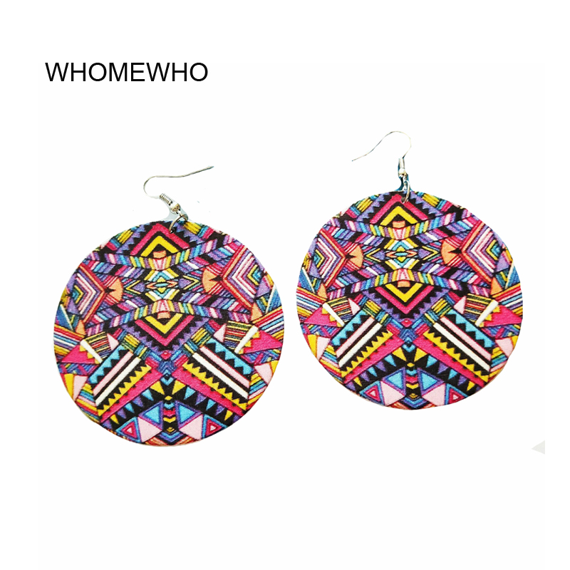 Charla-African* American Wooden Round Afrocentric Ethnic Drop Earrings